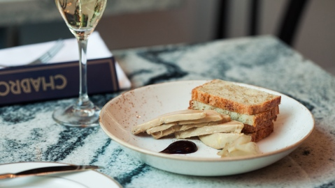 Riesling-poached foie gras with black currant and salsify