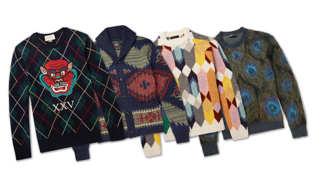 Gucci, RRL, Prada, Alexander McQueen sweaters