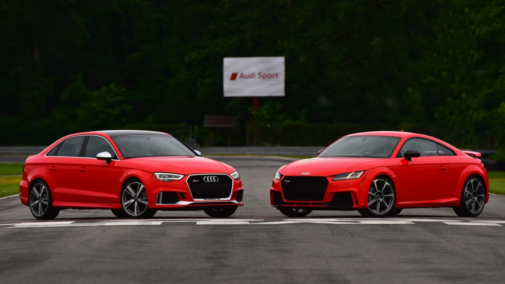 The Audi TT RS (right) and RS3 (left).