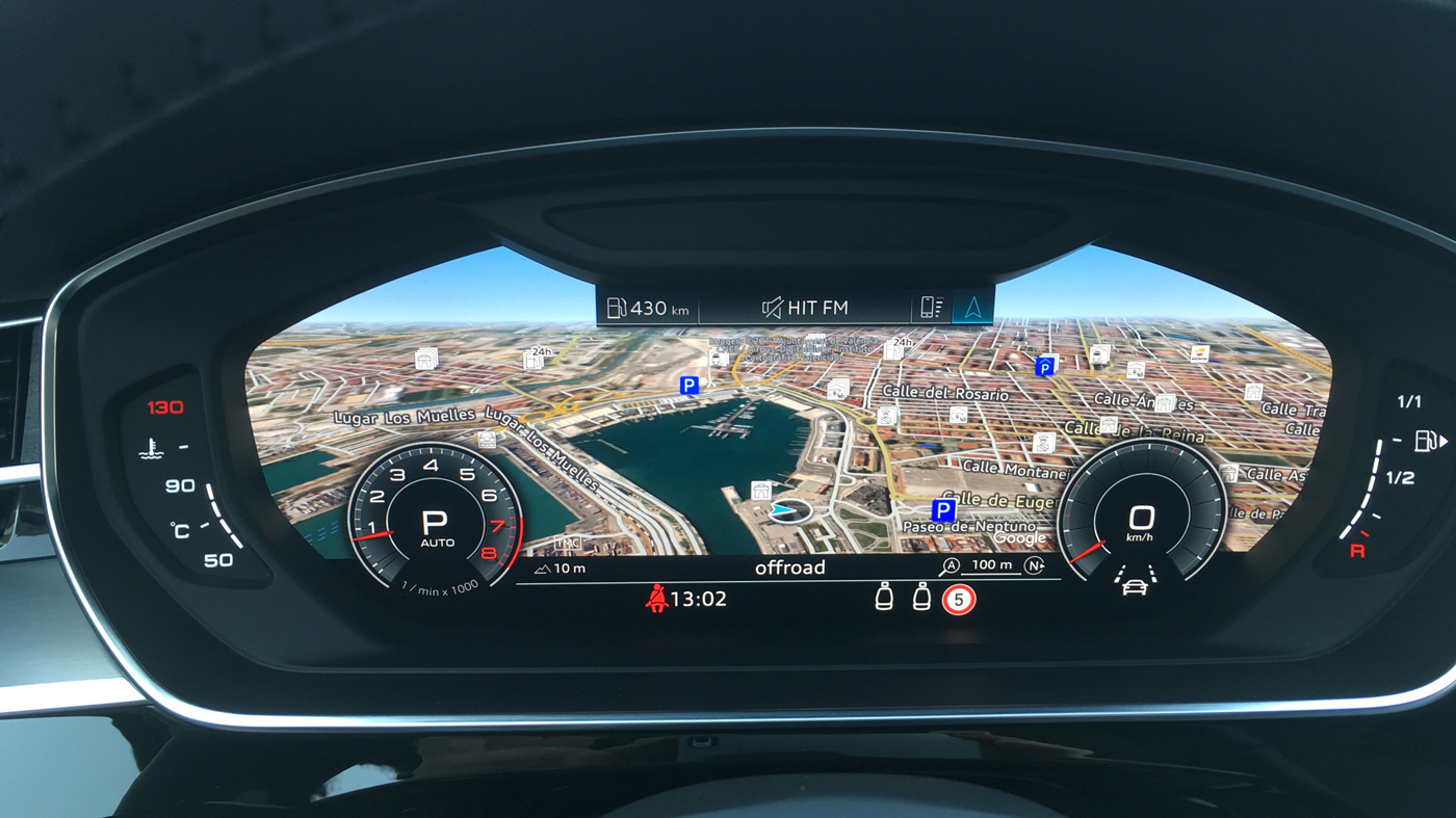 An instrumentation display in the 2019 Audi A8L.