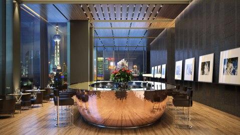 The bar at the Bulgari Hotel Shanghai
