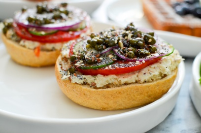 trout bagel tomato capers