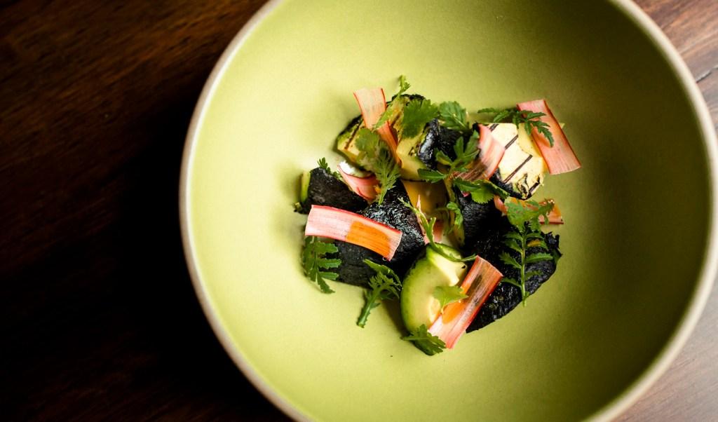 Grilled avocado rhubarb ember oil mayo