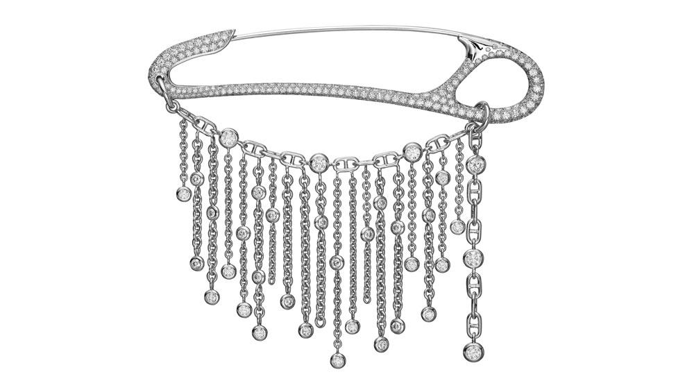 silver safety pin brooch
