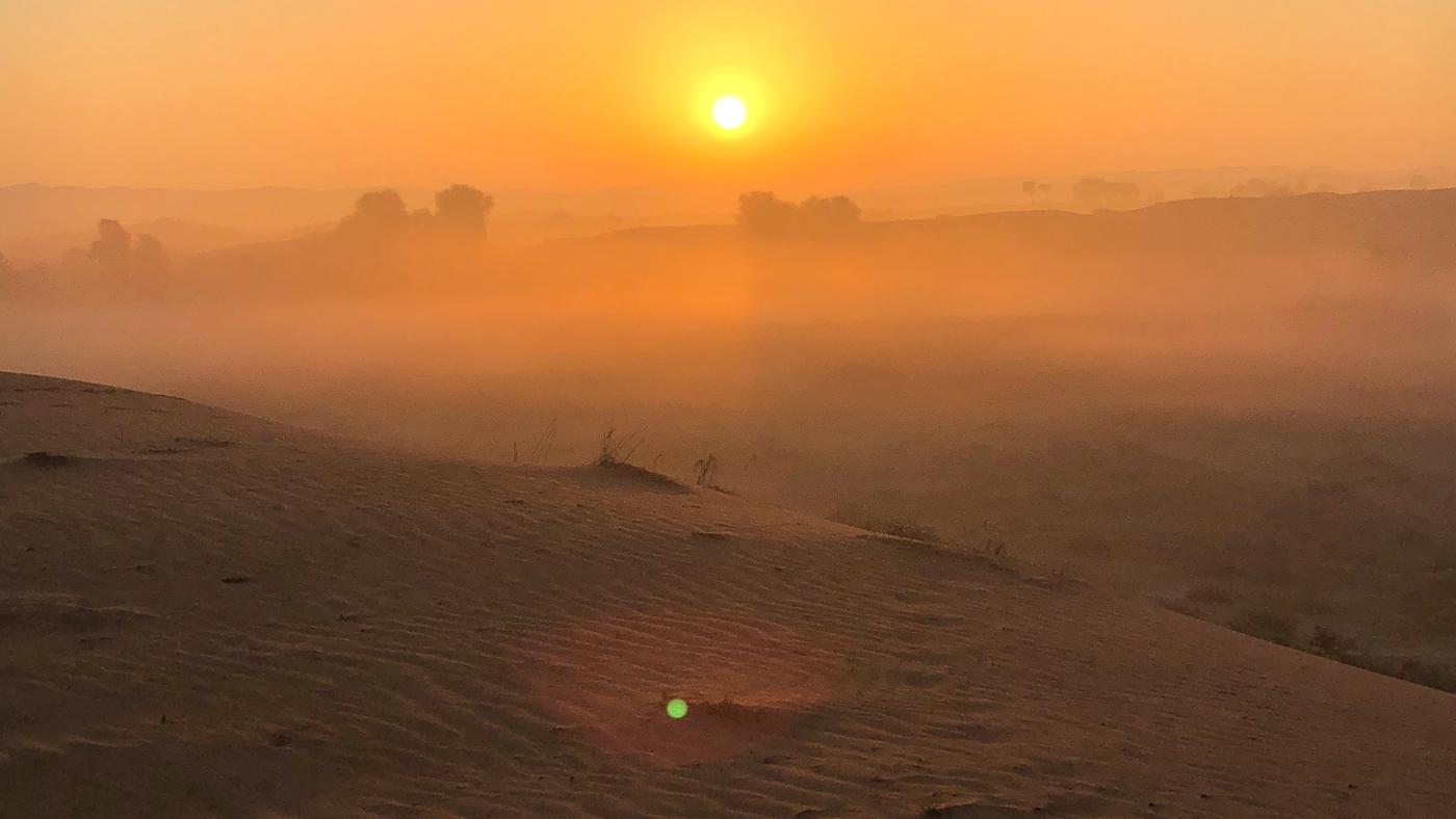 The sunrise as seen from the Al Wadi Desert, Ras Al Khaimah resort.