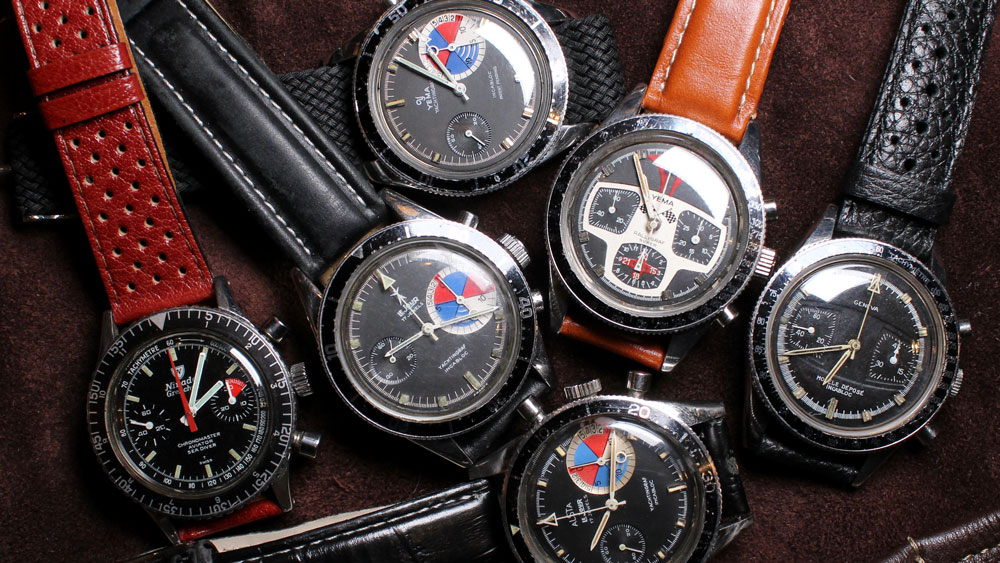An assortment of Yema, LeJour, and other vintage chronographs.