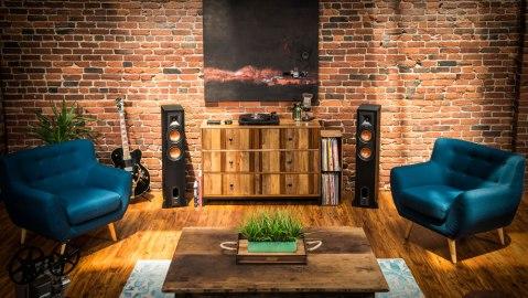 Klipsch R-28PF floor-standing speakers living room