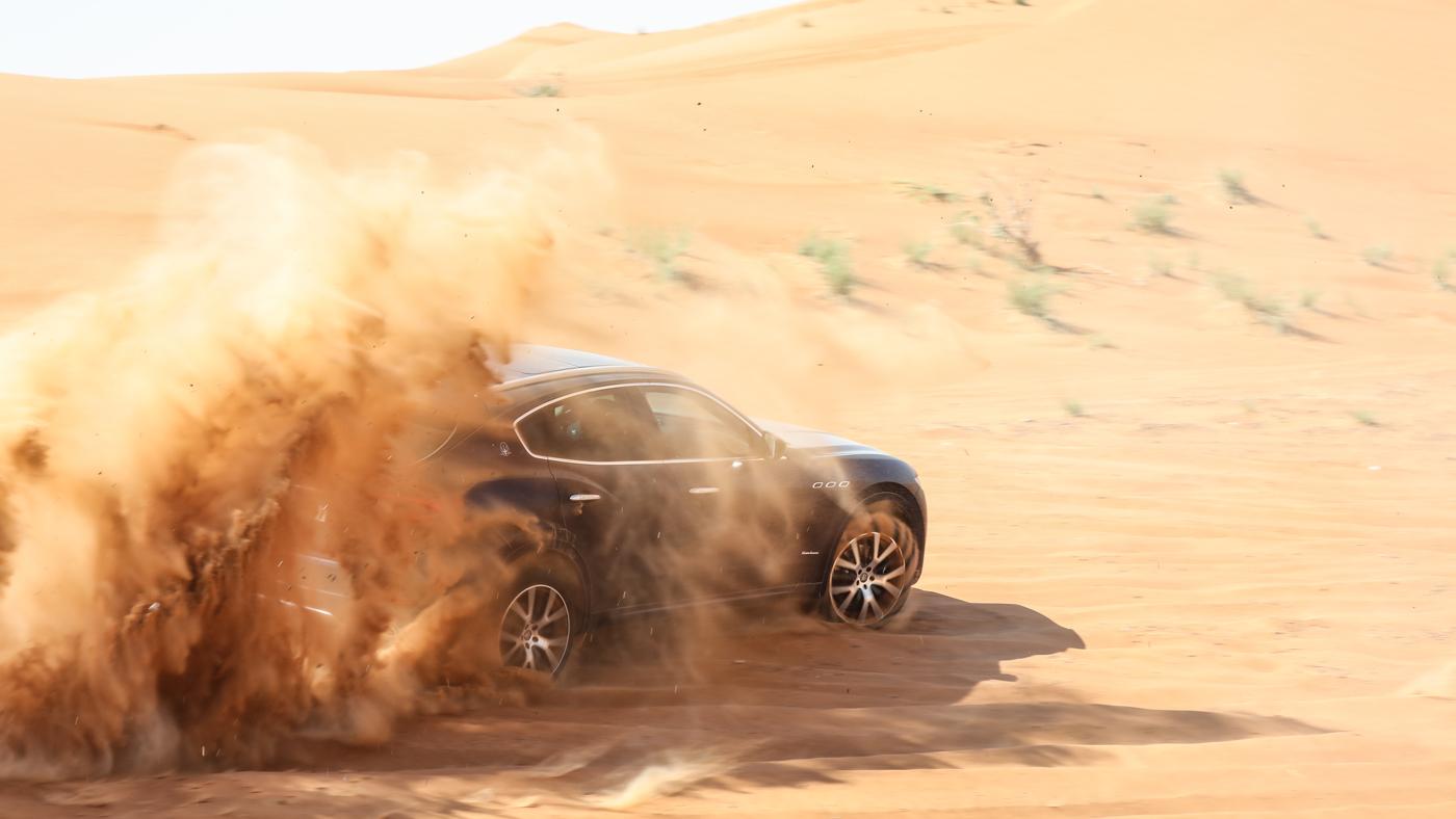 The 2018 Maserati Levante in the desert.