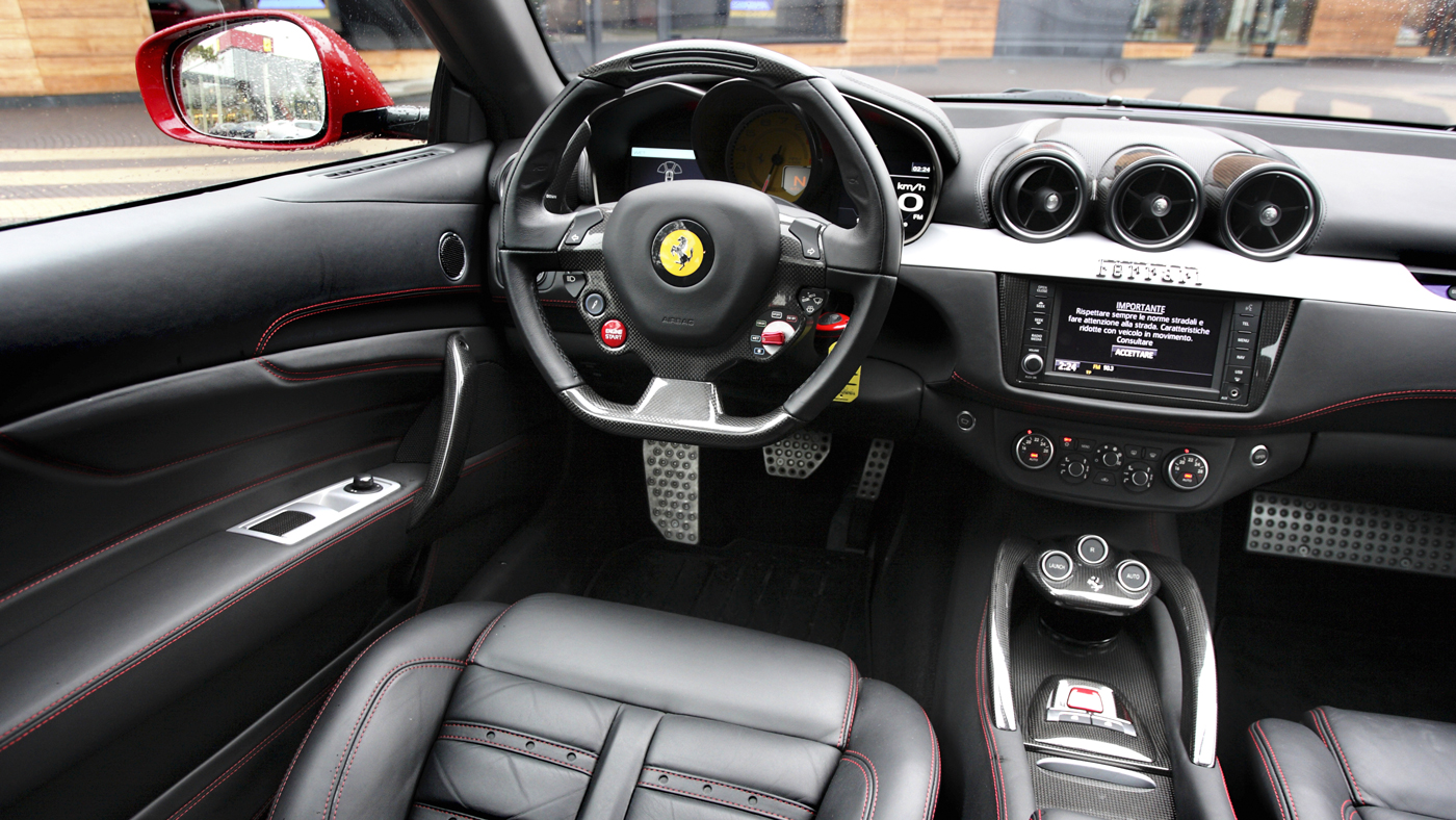 The comparatively spacious interior of the Ferrari FF.