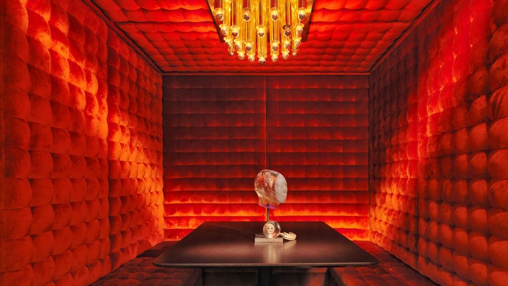 Red velvet booth at London hotel