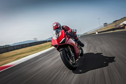 Ducati's 2018 Panigale V4 rockets around a track.