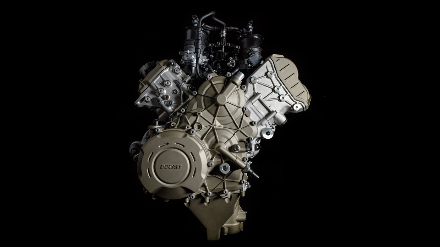 The engine of the 2018 Dcati Panigale V4.