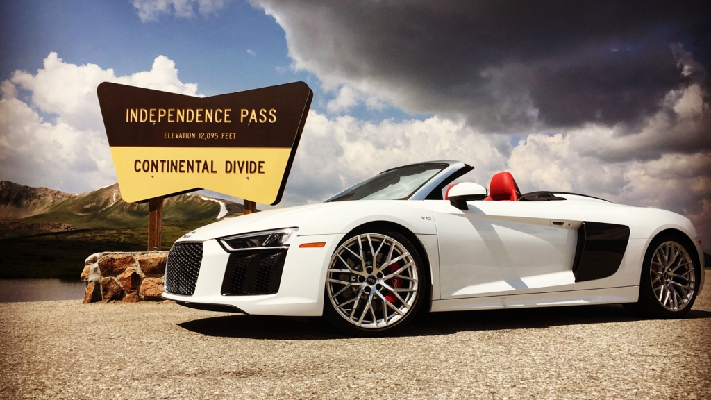 An Audi R8 V10 Spyder at the top of Independence Pass in Colorado.