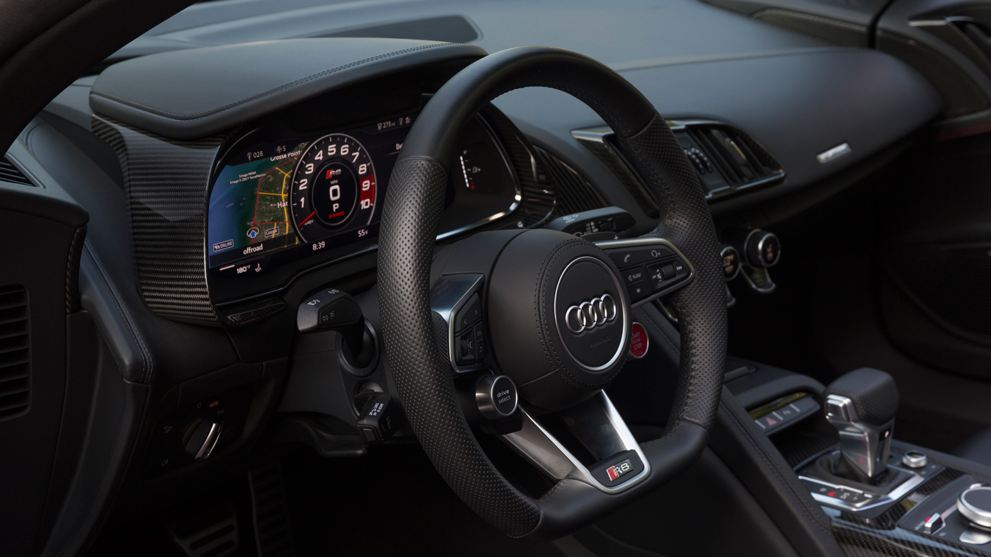 The R8 V10 Spyder's driver-oriented cabin.