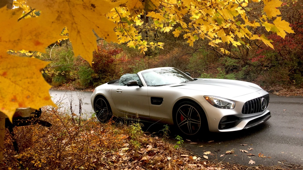 The Mercedes-AMG GT C Roadster in fall foliage.