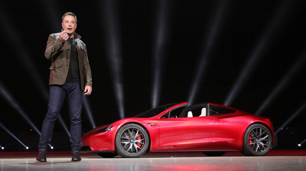 Elon Musk introducing the new Tesla Roadster.