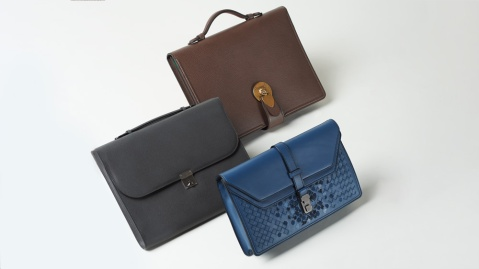 Gucci, Bottega Veneta, and Valextra bags