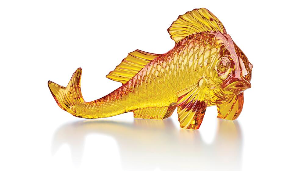 Baccarat fish sculpture