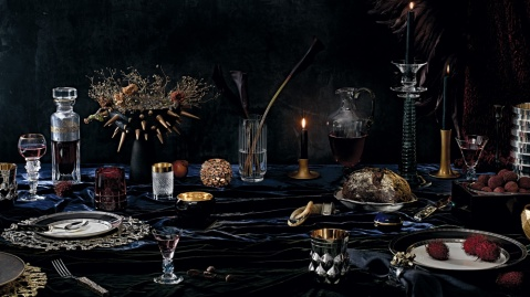 Formal crystal, gold, and silver tabletop display