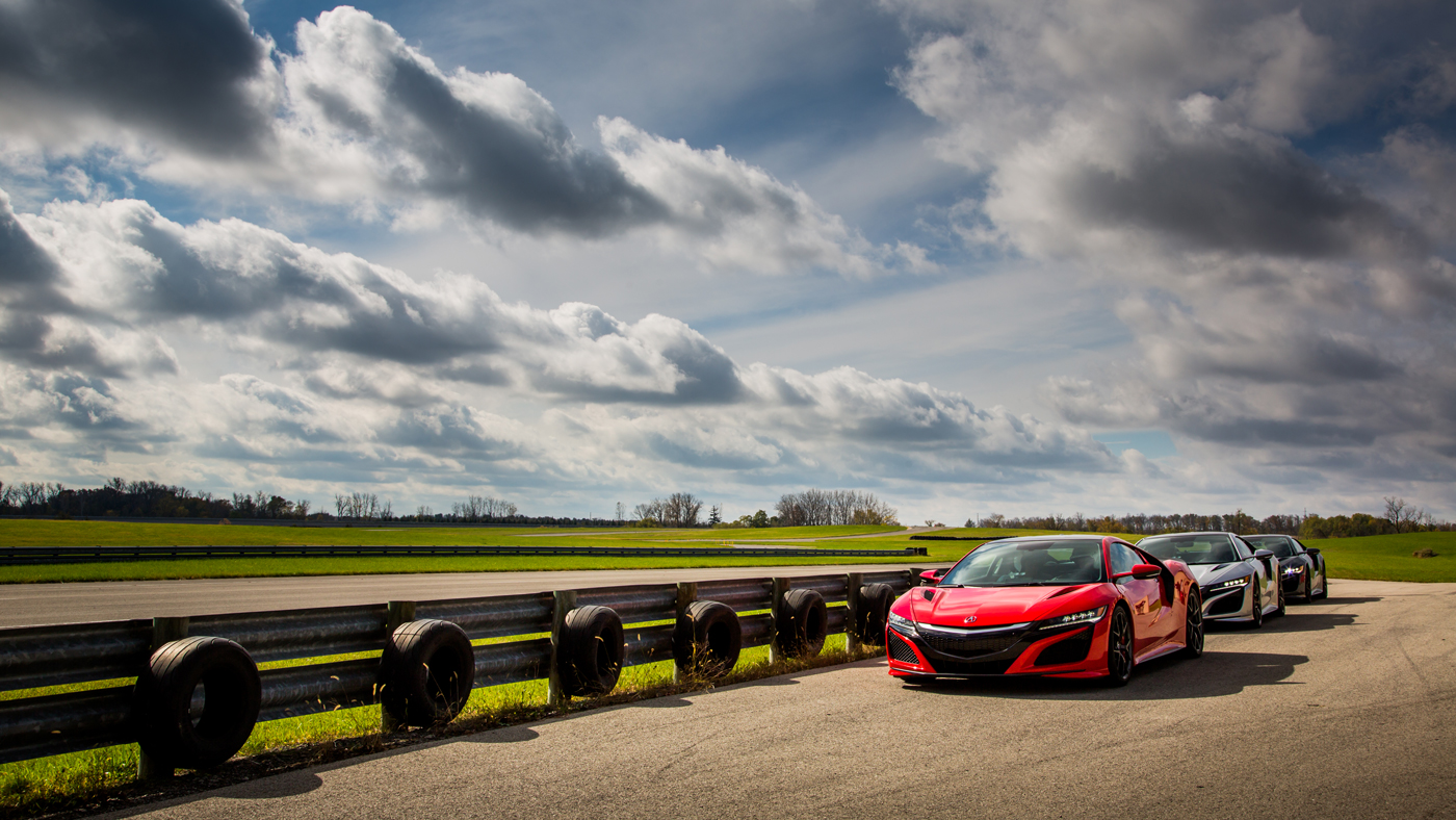 A trio of Acura NSX in finely tuned formation.