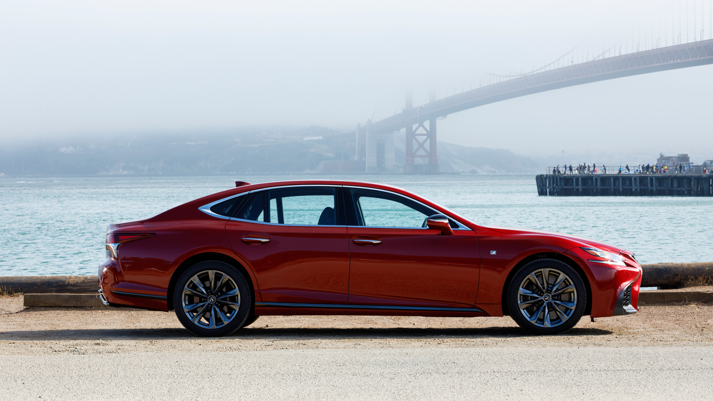 The new Lexus LS 500 F Sport with San Francisco's Golden Gate Bridge in the background.