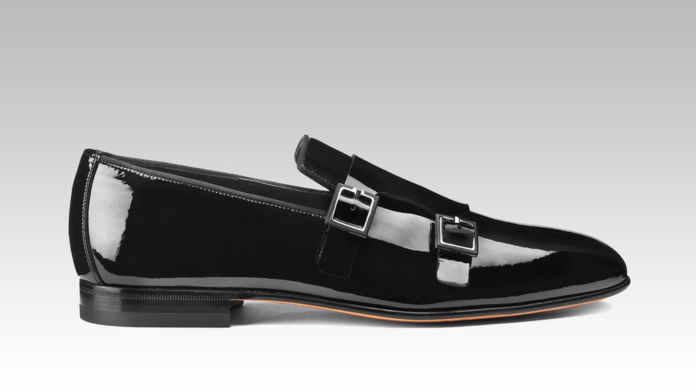 Santoni Double Buckle Patent Loafer