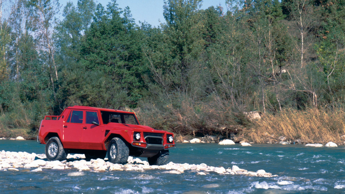 The Lamborghini LM002 in the wilderness.