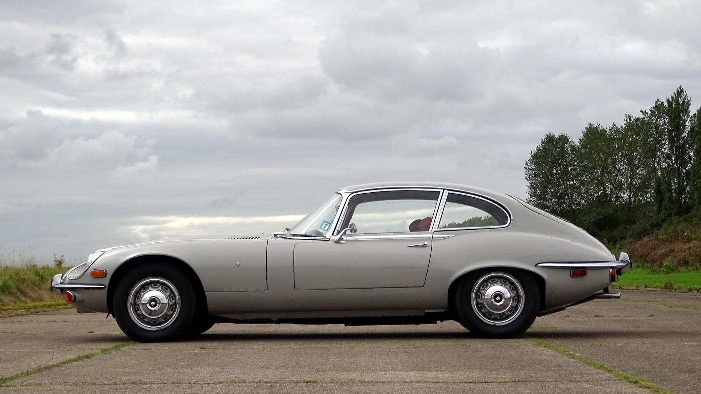 Side view of a rare 1971 Jaguar E-Type.