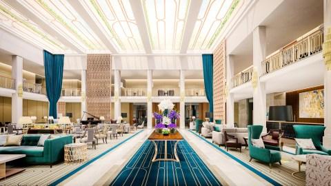 Hotel lobby in Lisbon, Portugal