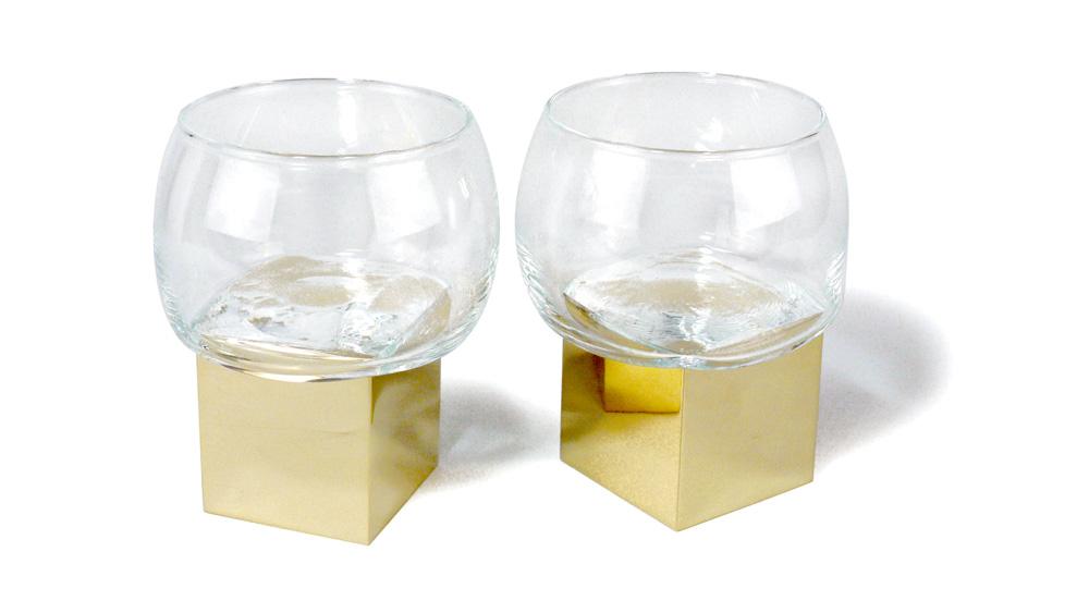 Vanessa Mitrani bronze and glass whiskey glasses