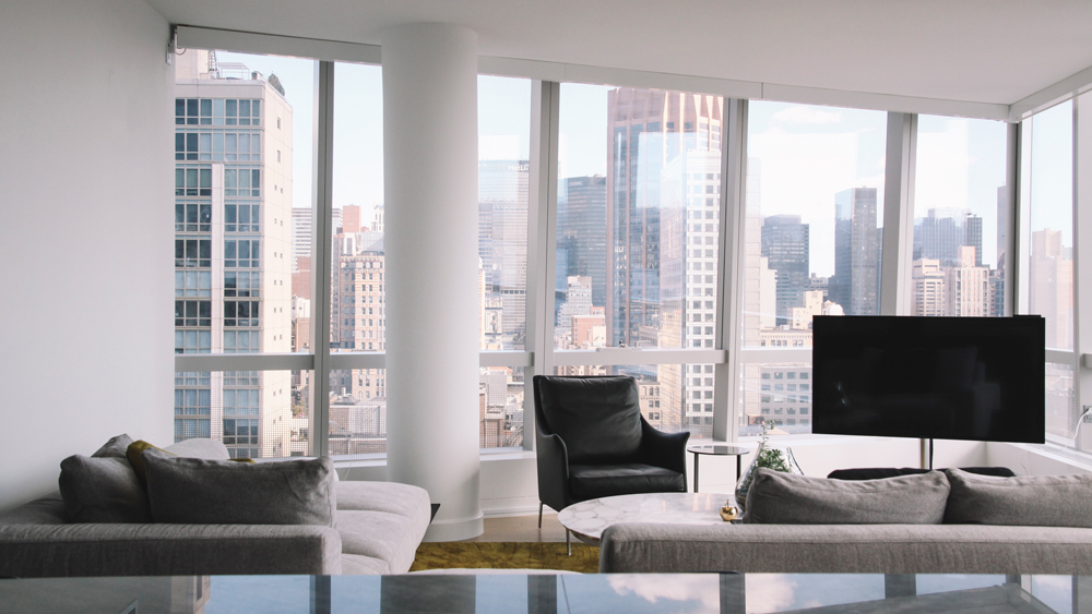 Modern living room with skyline views