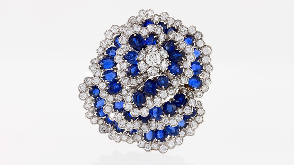 Macklowe diamond sapphire brooch