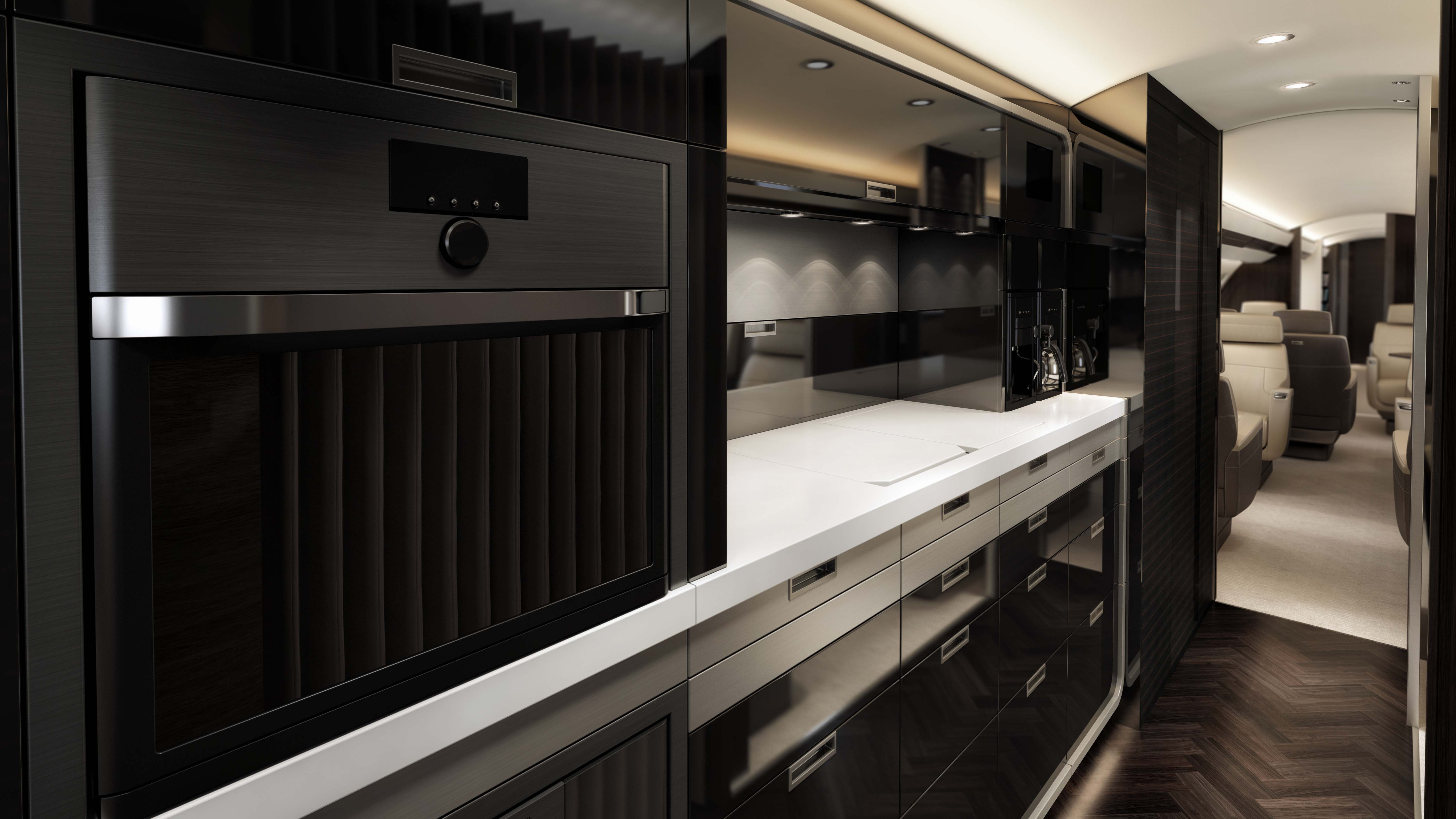 Bombardier Global 7000 galley dining