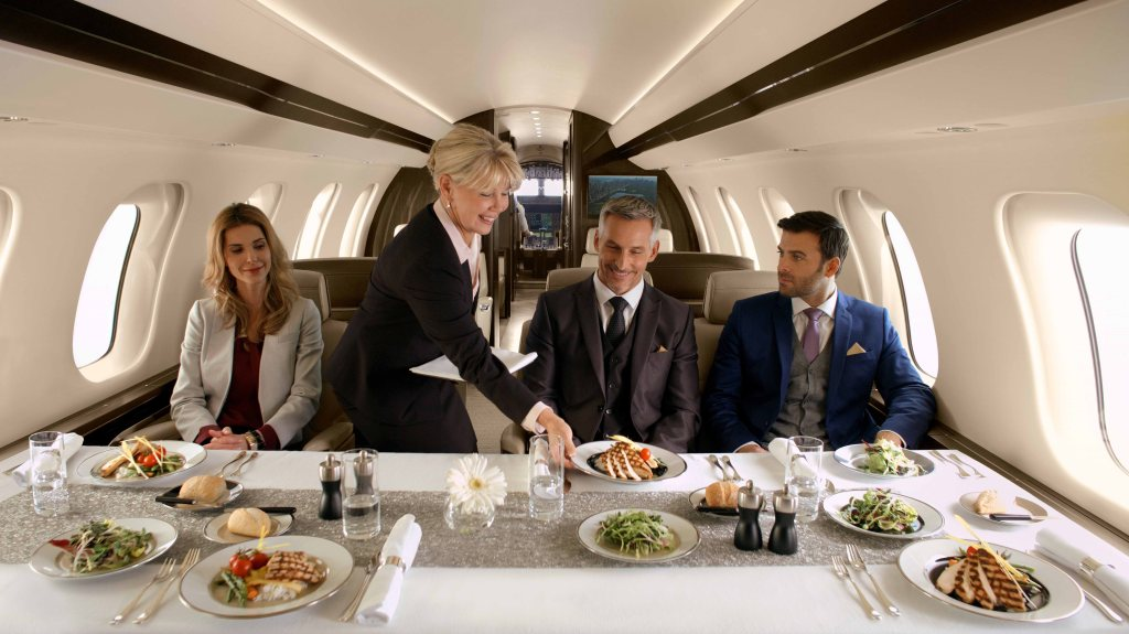 Bombardier Global 7000 business jet dining