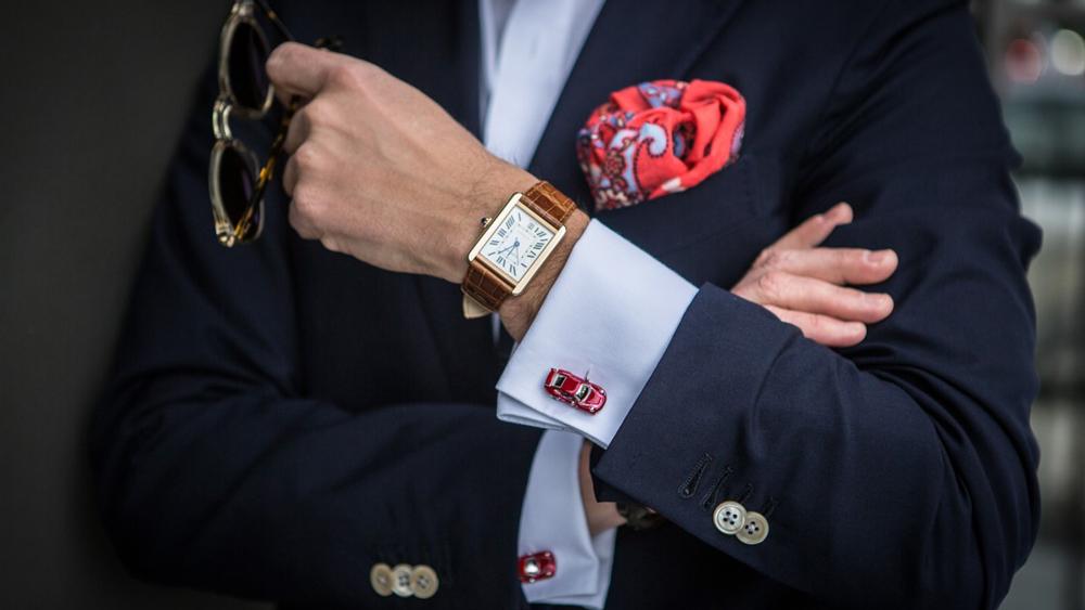 Classic navy blazer car cufflinks