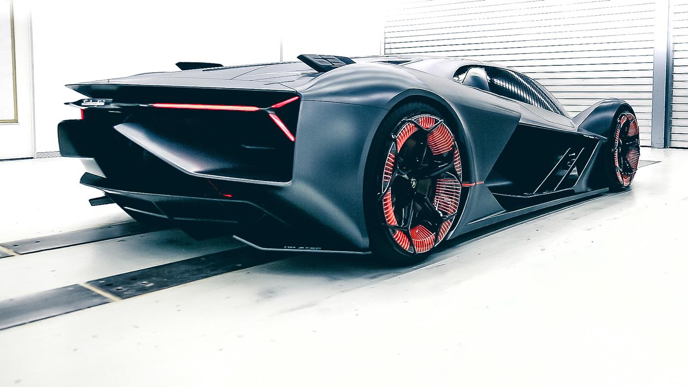 A rendering of the Lamborghini Terzo Millennio Concept.