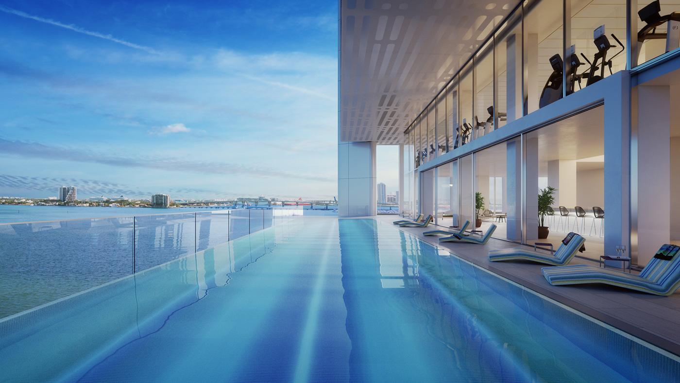 swimming pool at luxury condos in Miami, Florida