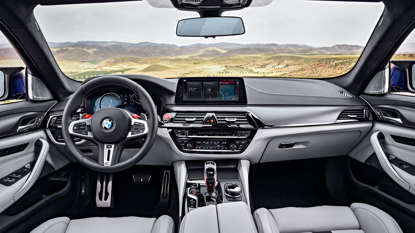 The interior of a 2018 BMW M5.