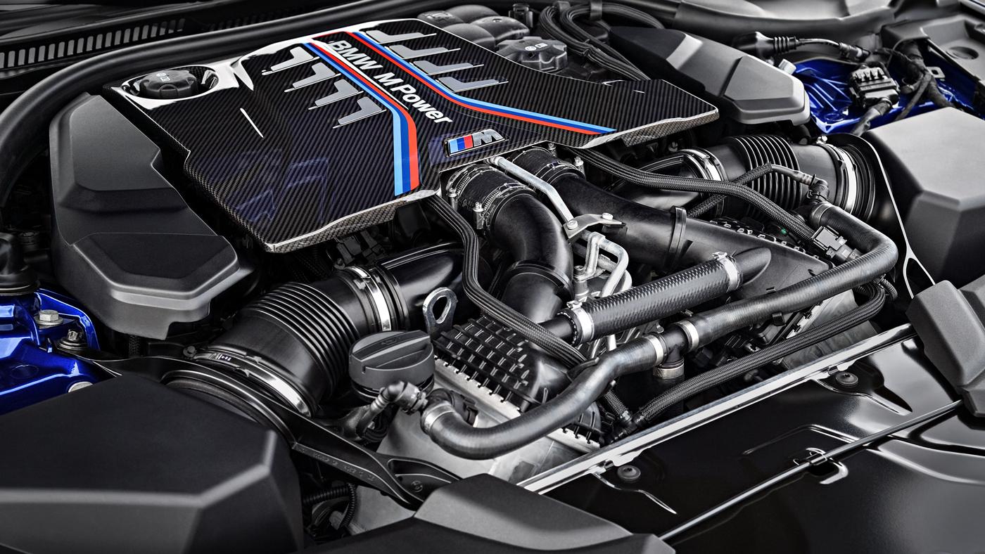 The 600 hp, 4.4-liter V-8 engine of a 2018 BMW M5.