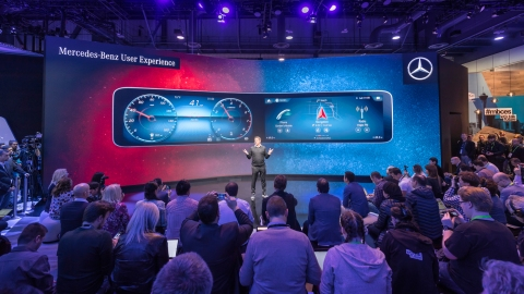 A Mercedes-Benz press conference at the 2018 Consumer Electronics Show in Las Vegas.