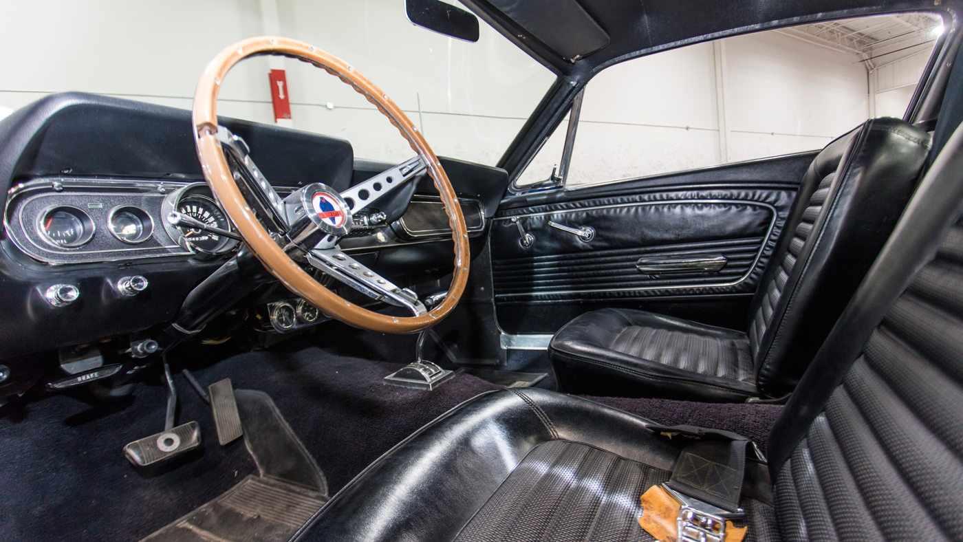 The interior of the Shelby GT350H Fastback once owned by Carroll Shelby.