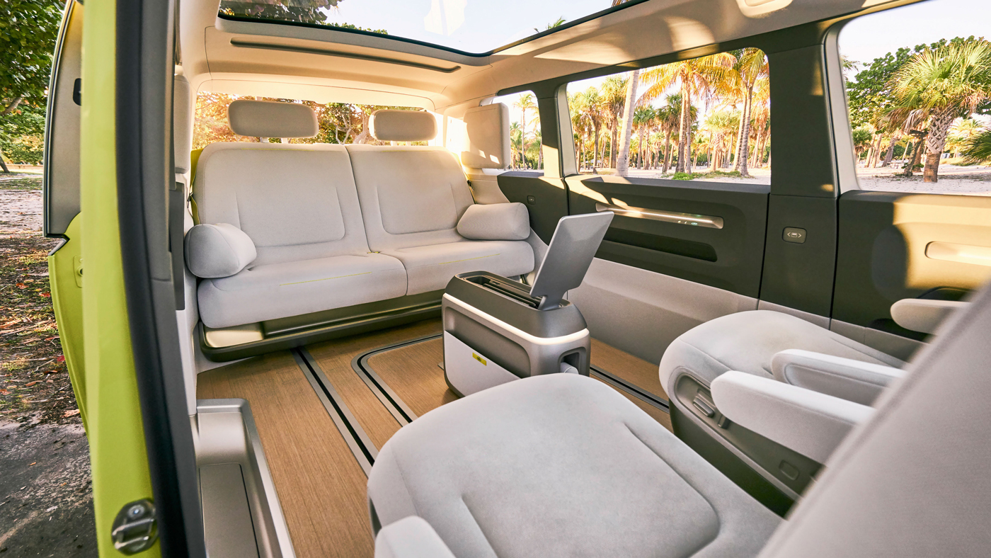 Inside the Volkswagen I.D. Buzz, an all-electric version of the MicroBus that includes the integration of artificial intelligence festures from Nvidia.