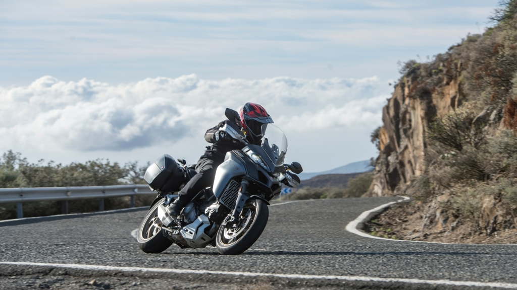 A rider on the Ducati Multistrada 1260S on the island of Gran Canaria.
