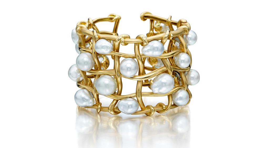 18-karat yellow gold basket weave bracelet Assael