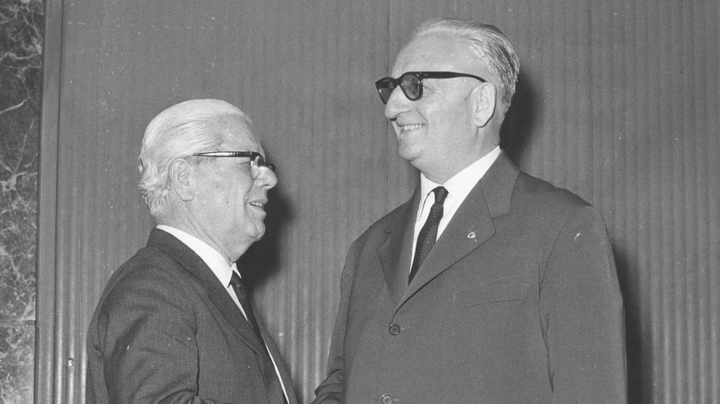 Battista Pininfarina (left) and Enzo Ferrari (left).