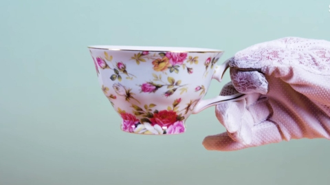 tea cup white glove