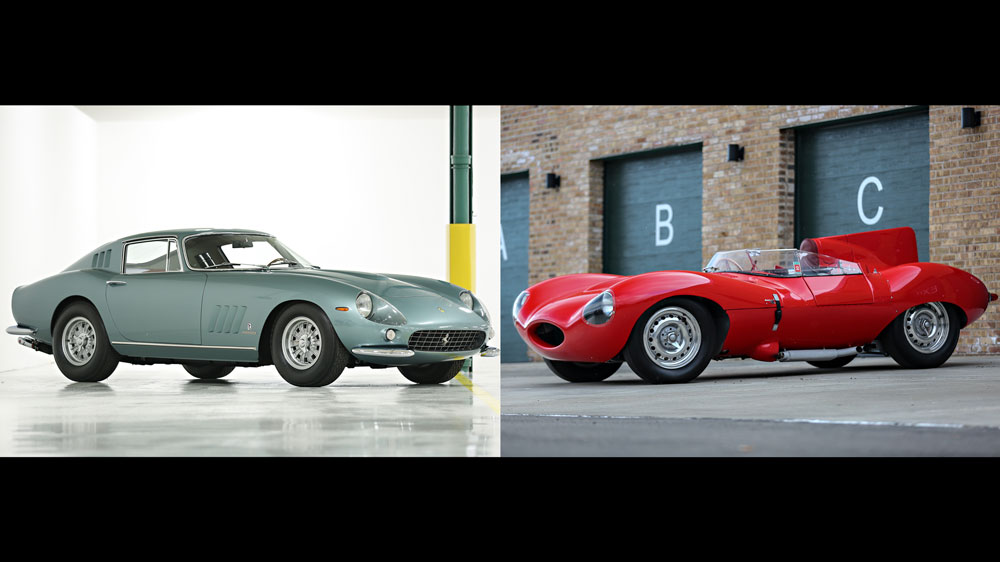 The 1965 Ferrari 275 GTB Speciale and 1956 Jaguar D-Type on offer at Gooding & Company's 2018 Scottsdale Auctions.