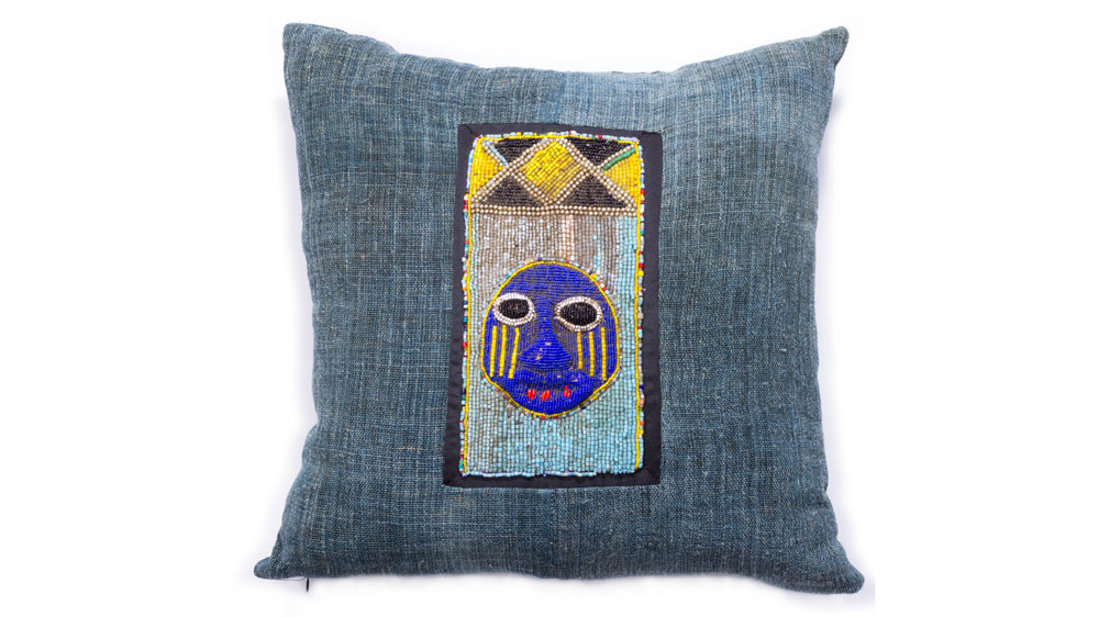 African beaded and indigo net pillow from Bradley Bayou