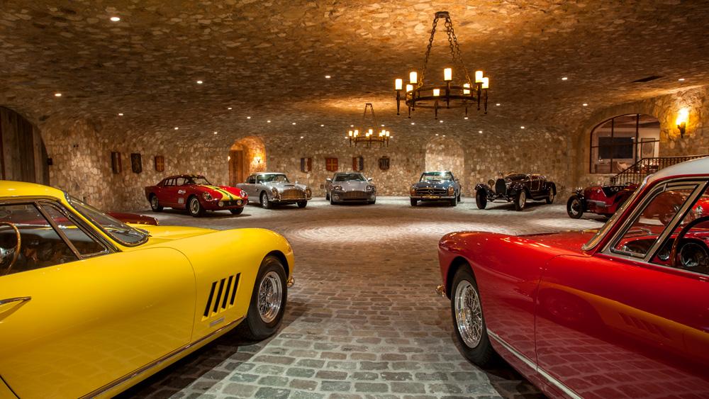 Cave-like, French-inspired custom garage.