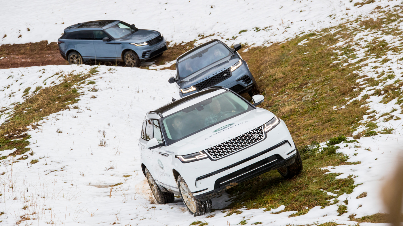 The 2018 Range Rover Velar roams the snow-dusted forest trails at Biltmore Estate in Asheville, N.C.